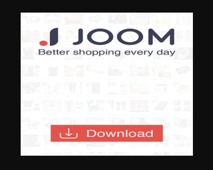 Screenshot of a Joom shopping ad with a download button